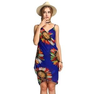 Blue Floral Chiffon Swimsuit Cover Up Sarong